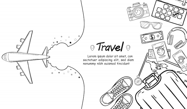 Doodle il viaggio del punto di controllo dell'aeroplano intorno al concetto del mondo