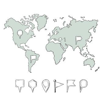 Doodle illustrazioni della mappa del mondo con perni disegnati a mano.