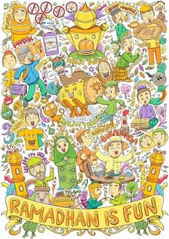 Doodle islamico per ramadhan ed eid mubarrak event