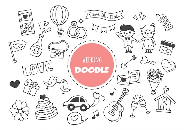 Doodle kawaii di nozze