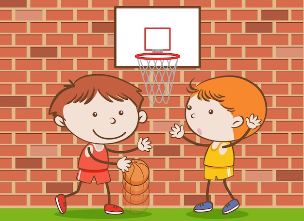 Doodle kids playing basketball at school