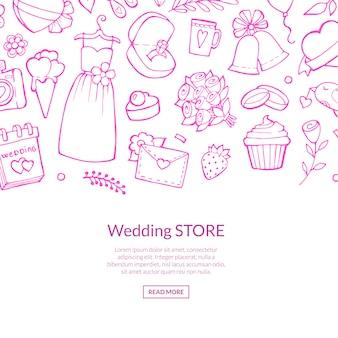 Doodle linea di elementi di nozze rosa