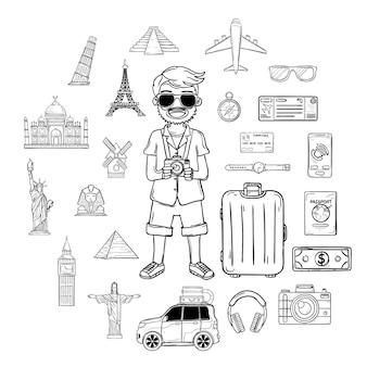 Doodle mano disegnare viaggiatore uomo con i bagagli. accessori da viaggio in tutto il mondo.
