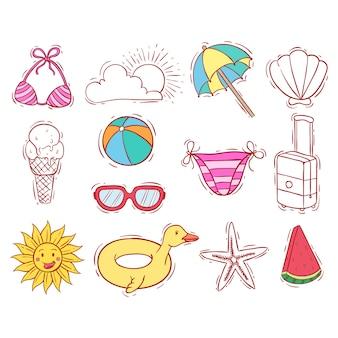 Doodle o disegnato a mano della collezione di elementi estivi