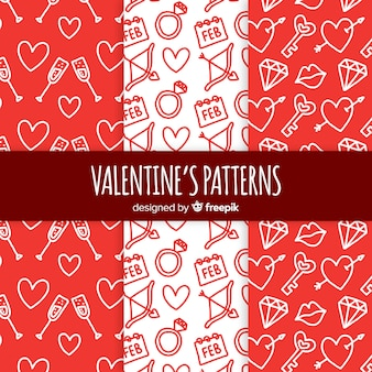 Doodle pattern di san valentino
