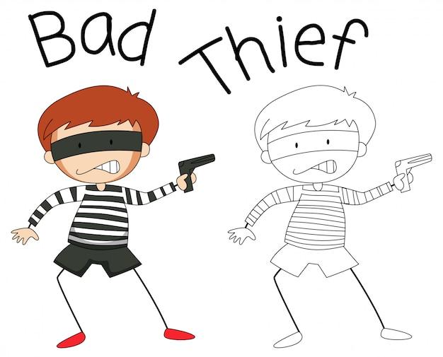 Doodle personaggio cattivo ladro