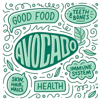Doodle poster con scritte su cibo naturale, avocado