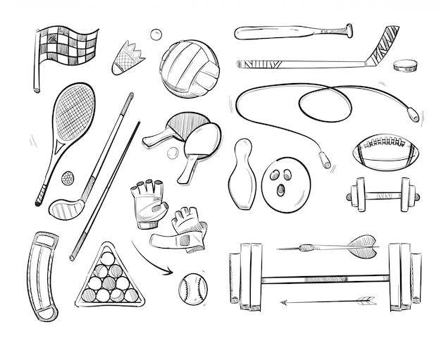 Doodle schizzo sport e fitness icone vettoriali