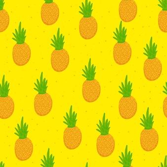 Doodle seamless pattern di ananas estate