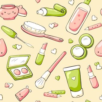 Doodle seamless pattern di cosmetici