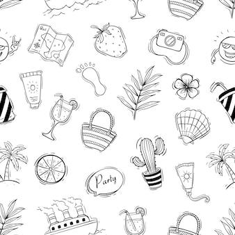 Doodle seamless pattern di elementi estivi
