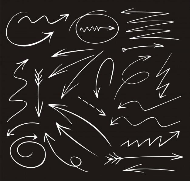 Doodle set di icone diverse freccia
