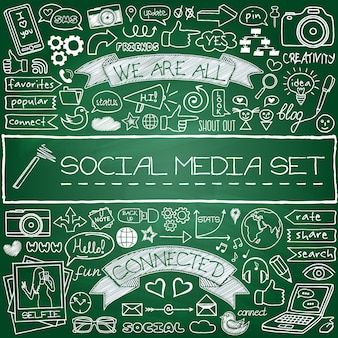 Doodle set di icone social media