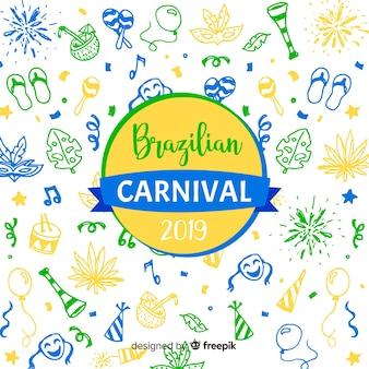 Doodle sfondo di carnevale brasiliano