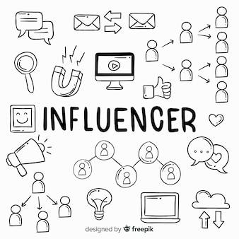 Doodle sfondo di influencer sociale