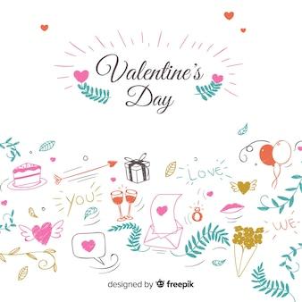 Doodle sfondo elementi di san valentino