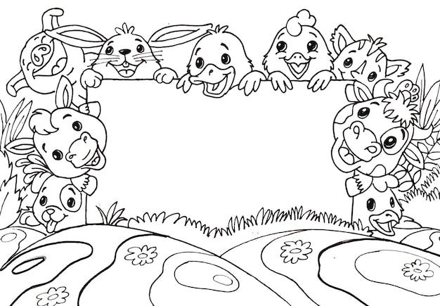 Doodle simpatici animali da fattoria con bacheca vuota