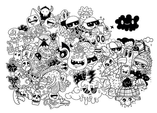 Doodle simpatico mostro