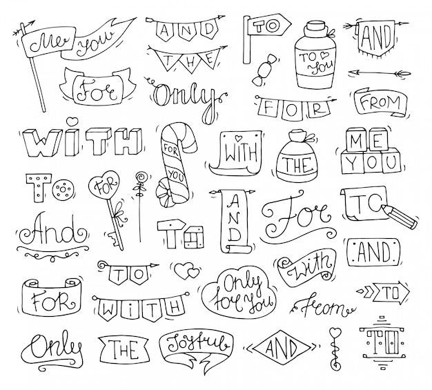 Doodle slogan divertenti calligrafici per design romantico