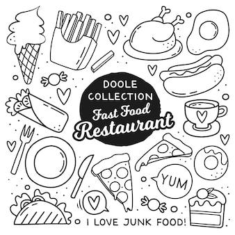 Doodle stile elementi di fast food