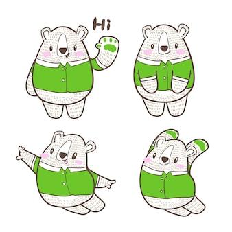 Doodle sveglio del fumetto dell'orso piccolo