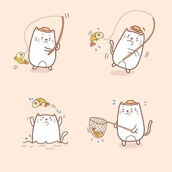 Doodle sveglio di tiraggio della mano della raccolta di pesca del fumetto del gatto