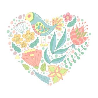 Doodle uccello ed elementi floreali a forma di cuore.