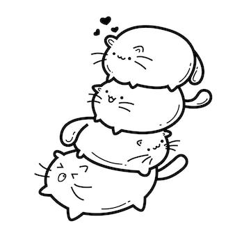 Doodles di mostri simpatici gatti