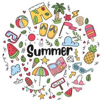 Doodles di spiaggia estate disegnati a mano set di simboli e oggetti vettoriali isolato