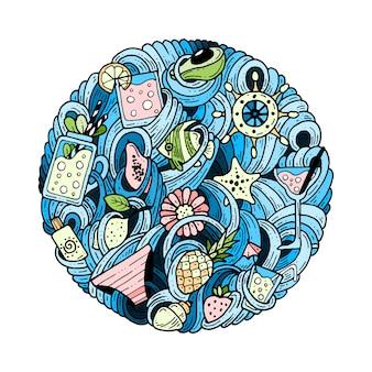 Doodles in un cerchio sul tema dell'estate.