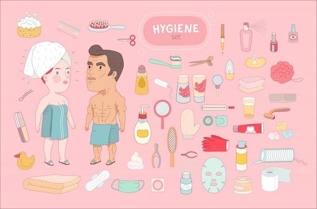 Dopo bagno doccia impostato su sfondo rosa
