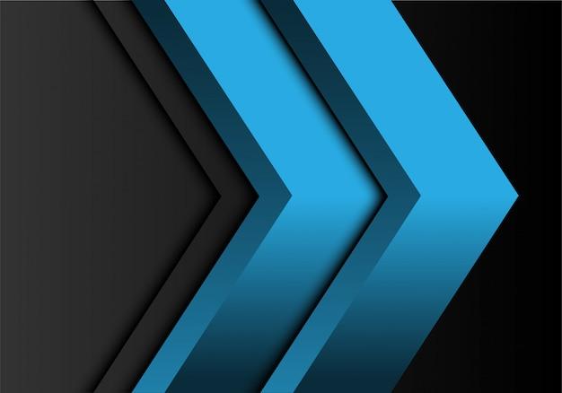 Doppia direzione blu della freccia su spazio in bianco grigio.