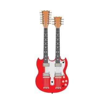 Doppia illustrazione rossa della chitarra elettrica