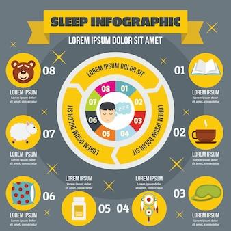Dormire concetto infografica, stile piatto