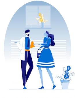 Dottore barbuto talking con il fumetto paziente femminile