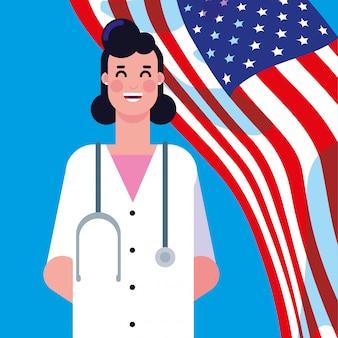 Dottore femminile con bandiera degli stati uniti
