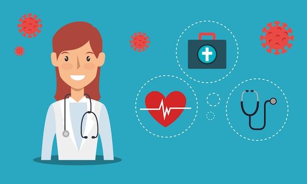 Dottore femminile con particelle covid 19 e illustrazione icone mediche
