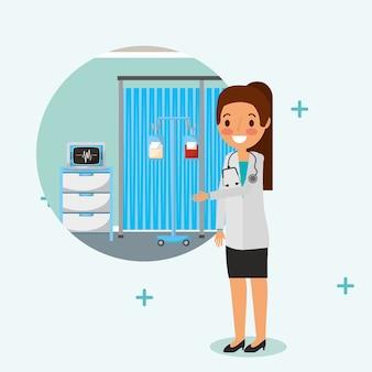 Dottore femminile con stetoscopio in camera