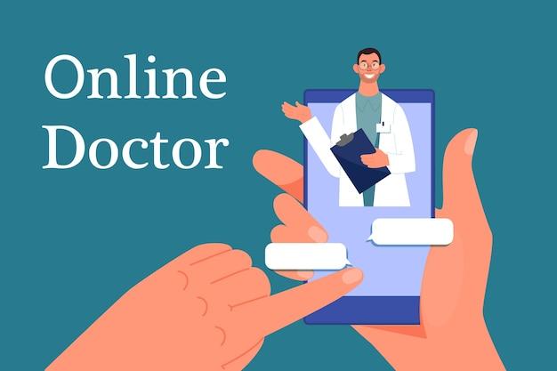 Dottore in linea. consultazione con professionisti in internet