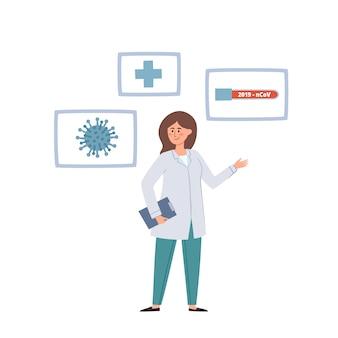 Dottore in piedi e coronavirus, provetta con sangue.