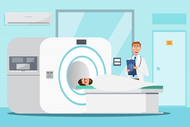 Dottore in piedi e uomo sdraiato per radiografia con macchina scanner mri