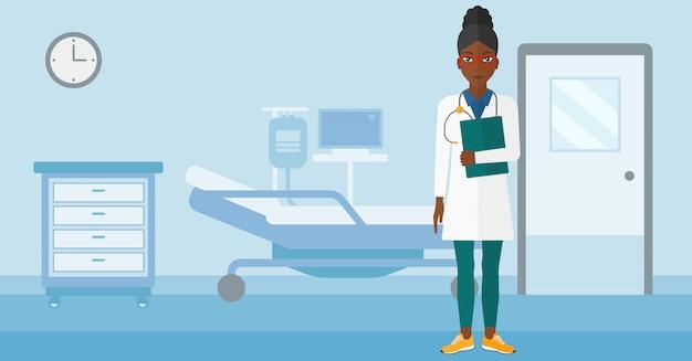 Dottore in reparto ospedaliero.