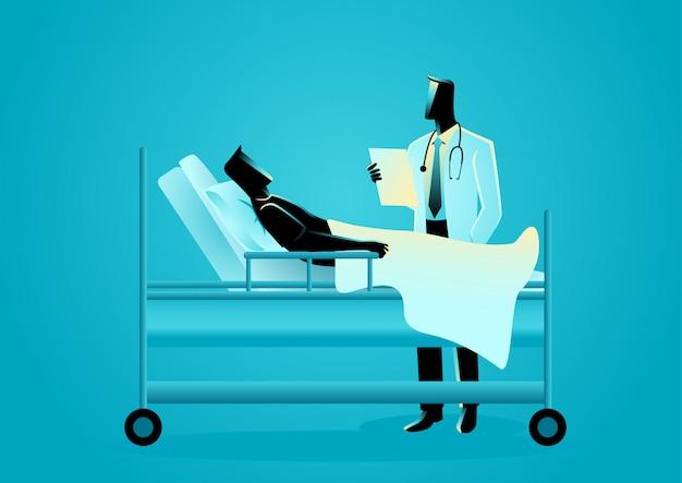Dottore in visita al suo paziente