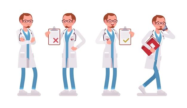 Dottore maschio. uomo in uniforme ospedaliera con tessera paziente, occupato a parlare al telefono, in piedi akimbo. medicina, concetto sanitario. stile cartoon illustrazione su sfondo bianco