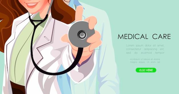 Dottore vicino. sfondo medico