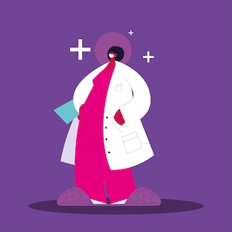 Dottoressa in piedi, personale medico