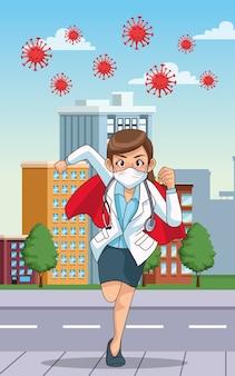 Dottoressa super con mantello da eroe in esecuzione sulla città