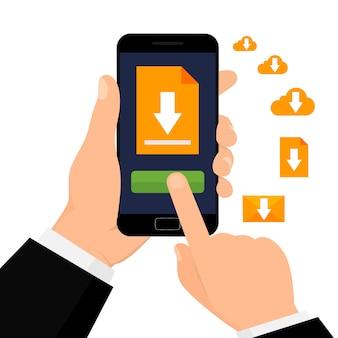 Download del file con il telefono. la mano tiene lo smartphone con il download del pulsante. illustrazione vettoriale