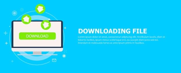 Download del file sul banner del computer. le frecce verdi che vanno al monitor.