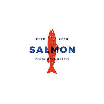 Download dell'autoadesivo di vettore del distintivo dell'etichetta del pesce di logo dei pesci del salmone